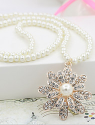 cheap -Pendant Necklace Charm Necklace Women's Geometrical Imitation Pearl Zircon Flower Fashion Lovely Wedding Gold 55 cm Necklace Jewelry 1pc for Christmas Wedding Street Gift Daily Geometric
