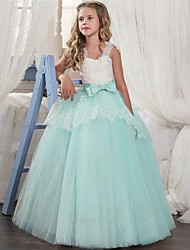 cheap -Kids Little Girls' Dress Solid Colored A Line Dress Party Birthday Lace up Mesh Lace Blushing Pink Light Green Light Blue Maxi Sleeveless Princess Cute Dresses Fall Spring Regular Fit 5-13 Years