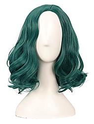 cheap -14 inch /35 cm short curly bob wavy length side bangs synthetic fiber hair party cosplay wig (dark pine green)