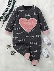 cheap -Baby Girls' Jumpsuits Active Basic Daily Street Birthday Weekend Black Heart Heart Print Long Sleeve