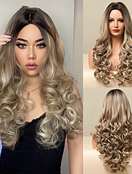 cheap -Long Deep Wave Wigs Ombre Brown Blonde Synthetic Wig for Black Women Cosplay Party Middle Part Heat Resistant Fake