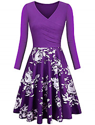 cheap -Women's Plus Size Dress A Line Dress Knee Length Dress Long Sleeve Floral Print Work Fall Wine Purple Green L XL XXL 3XL 4XL