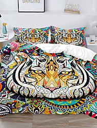 cheap -Tiger Printed 3-Piece Duvet Cover Set Hotel Bedding Sets Comforter Cover with Soft Lightweight Thicken Fabric, Include 1 Duvet Cover, 2 Pillowcases for Double/Queen/King(1 Pillowcase for Twin/Single)