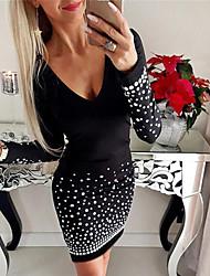 cheap -Women's A Line Dress Short Mini Dress Black Long Sleeve Polka Dot Print Fall V Neck Casual Sexy 2021 S M L XL XXL