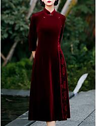 cheap -A-Line Mother of the Bride Dress Elegant Vintage High Neck Tea Length Velvet 3/4 Length Sleeve with Flower 2021