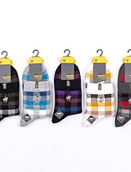 cheap -Comfort Men's Socks Plaid Checkered Multi Color Socks Casual Socks Medium Sport Multi color 5 Pairs