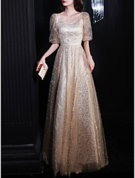 cheap -A-Line Sparkle Elegant Prom Formal Evening Dress Square Neck Half Sleeve Floor Length Tulle with Pleats Sequin 2021