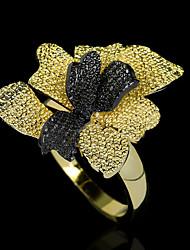 cheap -Women Ring Layered Gold / Black Brass Floral Theme Flower Elegant Fashion Vintage 1pc / Women's