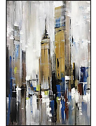 cheap -Oil Painting Handmade Hand Painted Wall Art Modern Abstract City Building Landscape Home Decoration Decor Rolled Canvas No Frame Unstretched