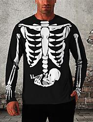 cheap -Men's Unisex T shirt 3D Print Graphic Prints Skeleton Print Long Sleeve Daily Tops Casual Designer Big and Tall Black