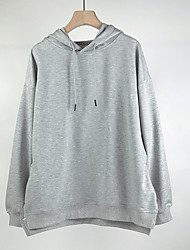 cheap -Women's Plus Size Tops Hoodie Sweatshirt Solid Color Long Sleeve Cowl Neck Basic Hoodie Winter Autumn pale pinkish gray Yellow Gray Big Size L XL XXL