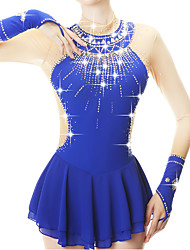cheap -Figure Skating Dress Women's Girls' Ice Skating Dress Royal Blue Spandex High Elasticity Practice Competition Skating Wear Embossed Fashion Long Sleeve Ice Skating Winter Sports Figure Skating