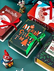 cheap -4Pcs Book Shape Merry Christmas Candy Boxes Bags Christmas Santa Claus Gift Box Natal Noel Party Decoration Supplies