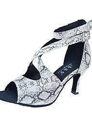 cheap -Women's Latin Shoes Heel Sneaker Pattern / Print Slim High Heel Silver / Black Buckle Cross Strap / Performance / Satin / Practice