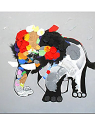 cheap -Oil Painting Handmade Hand Painted Wall Art Modern Cute Animal Baby Elephant Abstract Children's Room Decoration Home Decoration Decor Stretched Frame Ready to Hang