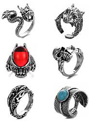 cheap -Men Ring Retro Silver Alloy Totem Series Wolf Head Animal Rustic / Lodge Anime Punk 6pcs Adjustable / Men's