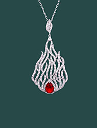 cheap -Pendant Necklace Women's Geometrical Clear Red White Dainty Luminous Wedding Silver 21-50 cm Necklace Jewelry 1pc for Wedding Geometric