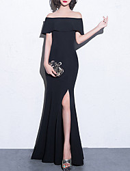 cheap -Mermaid / Trumpet Sexy bodycon Party Wear Formal Evening Dress Off Shoulder Short Sleeve Floor Length Stretch Fabric with Ruffles Split 2021