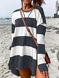 cheap -Women's Shift Dress Short Mini Dress Blue Gray Green White Black Long Sleeve Striped Color Block Split Fall Winter Round Neck Casual Regular Fit 2021 S M L XL XXL 3XL