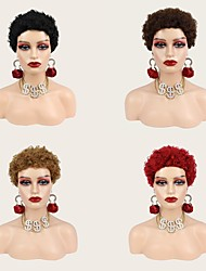 cheap -Human Hair Wig Matte Afro Curly Pixie Cut Short Bob Red Brown Dark Black for Cool Women Party or Cosplay Use Free Cap