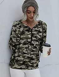 cheap -Women's Hoodie Sweatshirt Pullover Half Zip Front Pocket Hoodie Camouflage Sport Athleisure Hoodie Sweatshirt Top Long Sleeve Breathable Soft Comfortable Everyday Use Street Casual Daily Outdoor