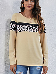 cheap -Women's Sweatshirt Pullover Crew Neck Leopard Sport Athleisure Sweatshirt Top Long Sleeve Breathable Soft Comfortable Everyday Use Street Casual Daily Outdoor / Winter