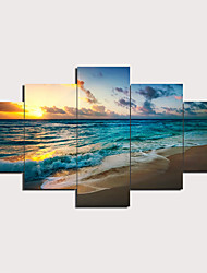 cheap -5 Panels Wall Art Canvas Prints Painting Artwork Picture Beach Painting Home Decoration Decor Rolled Canvas No Frame Unframed Unstretched