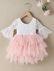 cheap -Kids Little Girls' Dress Color Block Flower A Line Dress Wedding Birthday Mesh Lace Blushing Pink Above Knee 3/4 Length Sleeve Cute Dresses Fall Winter Regular Fit 2-8 Years