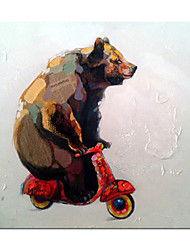 cheap -Oil Painting Handmade Hand Painted Wall Art Modern Cute Animal Bear Abstract Children's Room Decoration Home Decoration Decor Stretched Frame Ready to Hang