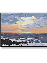 cheap -Oil Painting Handmade Hand Painted Wall Art Modern Knife Sea View Abstract Room Decor Home Decoration Decor Stretched Frame Ready to Hang