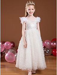 cheap -Princess Ankle Length Flower Girl Dresses Party Tulle Cap Sleeve Square Neck with Lace