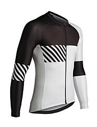 cheap -21Grams Men's Long Sleeve Cycling Jersey Spandex White Stripes Color Block Bike Top Mountain Bike MTB Road Bike Cycling Quick Dry Moisture Wicking Sports Clothing Apparel / Stretchy / Athleisure