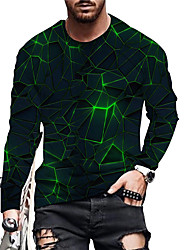 cheap -Men's Unisex T shirt 3D Print Geometric Graphic Prints Print Long Sleeve Daily Tops Casual Designer Big and Tall Green Red