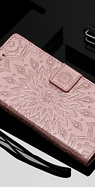 cheap -Case For Motorola MOTO G6 / Moto G6 Plus / Moto E5 Plus Wallet / Card Holder / with Stand Full Body Cases Flower Hard PU Leather