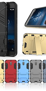 cheap -Case For Nokia Nokia 2 Shockproof / with Stand Back Cover Solid Colored / Armor Hard PC