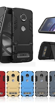 cheap -Case For Motorola Moto Z2 play Shockproof / with Stand Back Cover Solid Colored / Armor Hard PC