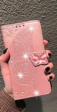 cheap -Case For LG LG Stylo 4 / LG Q7 / LG K40 Wallet / Card Holder / Rhinestone Full Body Cases Butterfly / Flower Soft PU Leather