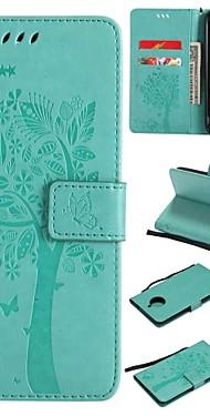 cheap -Case For Motorola Moto E4 Plus Wallet / Card Holder / Flip Full Body Cases Tree / Flower Hard PU Leather