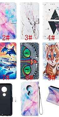 cheap -Case For Motorola Moto G7 / Moto G7 Plus / Moto G7 Play Wallet / Card Holder / with Stand Full Body Cases Animal / Marble Hard PU Leather