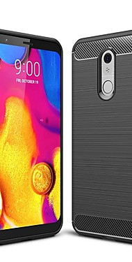 cheap -Case For LG V40 / LG Stylo 5 / LG G7 Shockproof / Ultra-thin Back Cover Solid Colored Carbon Fiber Case