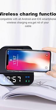 cheap -Wireless 5W Charger bluetooth Speaker Alarm Clock 4000 mAh Power Bank Micro USB Fast Charging Phone Holder For Phone