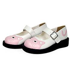 baratos -Mulheres Sapatos Sweet Lolita Lolita Sem Salto Sapatos Sólido 3 cm Preto Rosa Couro PU / Couro de Poliuretano Couro de Poliuretano Trajes de Halloween