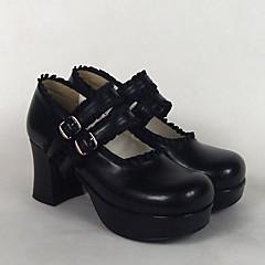 baratos -Mulheres Sapatos Classic Lolita Lolita Salto Alto Sapatos Sólido 7.5 cm Preto Branco Rosa claro Couro PU / Couro de Poliuretano Couro de Poliuretano Trajes de Halloween