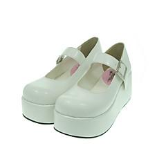 baratos -Mulheres Sapatos Classic Lolita Lolita Plataforma Sapatos Sólido 7 cm Couro PU / Couro de Poliuretano Couro de Poliuretano Trajes de Halloween