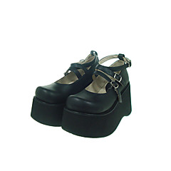 baratos -Mulheres Sapatos Gótica Lolita Plataforma Sapatos Sólido 10 cm Couro PU / Couro de Poliuretano Couro de Poliuretano Trajes de Halloween