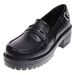 baratos -Mulheres Sapatos Classic Lolita Lolita Escolar Confeccionada à Mão Salto Alto Sapatos Sólido 5 cm Couro PU / Couro de Poliuretano Couro de Poliuretano Trajes de Halloween