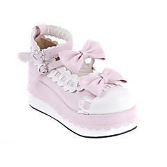 baratos -Mulheres Sapatos Sweet Lolita Salto Plataforma Sapatos Laço 7 cm Branco Rosa claro Couro PU / Couro de Poliuretano Trajes de Halloween / Princesa