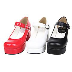 baratos -Mulheres Sapatos Classic Lolita Confeccionada à Mão Salto Alto Sapatos Sólido 7.5 cm Preto Branco Vermelho Couro PU / Couro de Poliuretano Trajes de Halloween