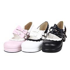 baratos -Mulheres Sapatos Confeccionada à Mão Salto Alto Sapatos Laço 4.5 cm Preto Branco Rosa claro Couro PU / Couro de Poliuretano Trajes de Halloween