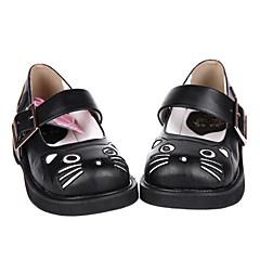 baratos -Mulheres Sapatos Confeccionada à Mão Sem Salto Sapatos Sólido 3 cm Couro PU / Couro de Poliuretano Trajes de Halloween